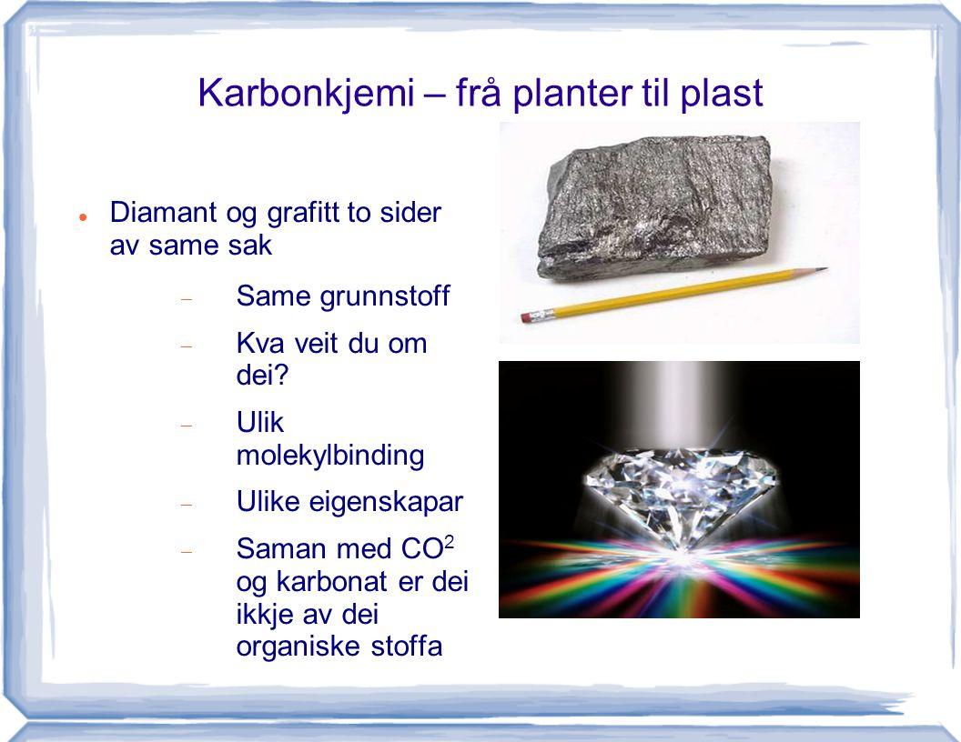 Karbonkjemi – frå planter til plast Diamant og grafitt to sider av same sak  Same grunnstoff  Kva veit du om dei?  Ulik molekylbinding  Ulike eige