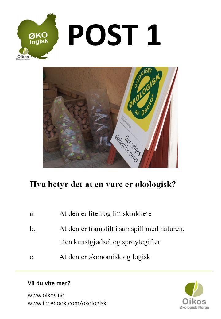 POST 1 Hva betyr det at en vare er økologisk.