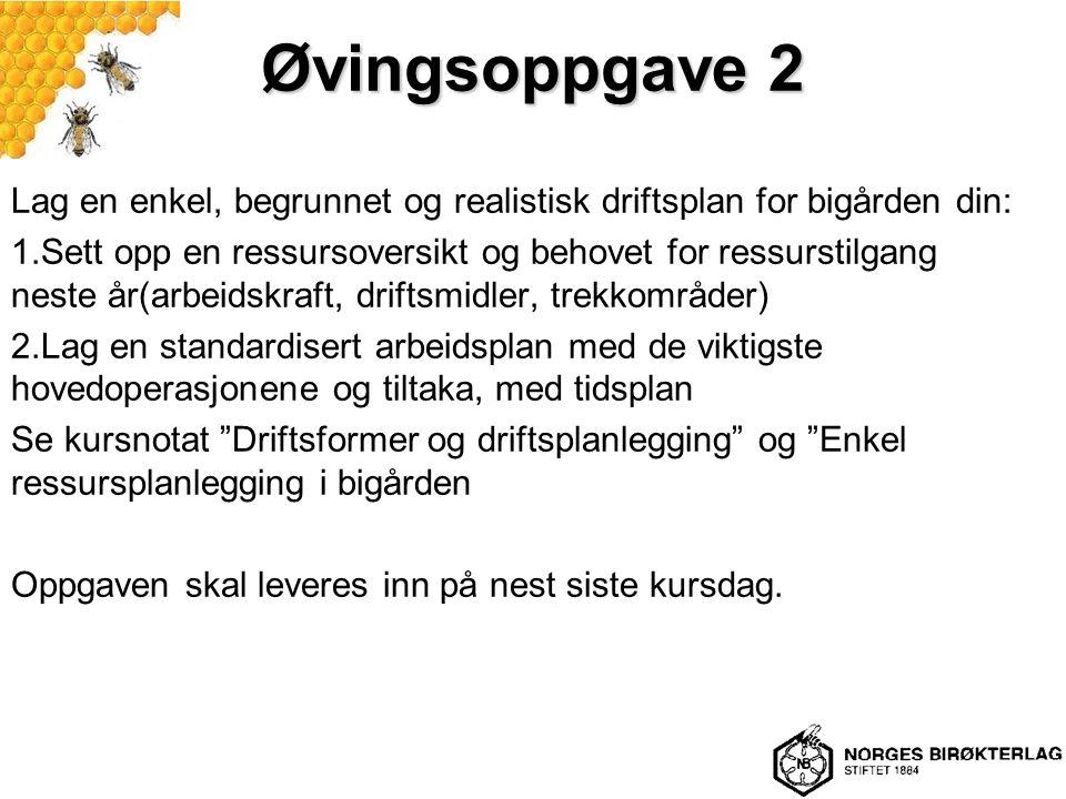 Øvingsoppgave 2 Lag en enkel, begrunnet og realistisk driftsplan for bigården din: 1.Sett opp en ressursoversikt og behovet for ressurstilgang neste å