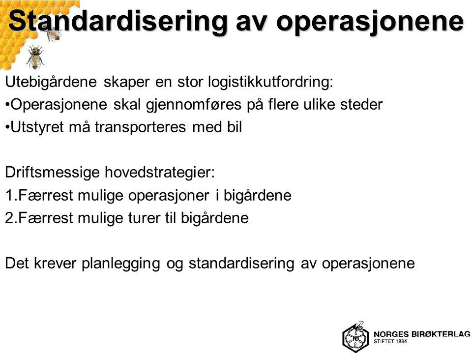 Standardisering av operasjonene Utebigårdene skaper en stor logistikkutfordring: Operasjonene skal gjennomføres på flere ulike steder Utstyret må tran