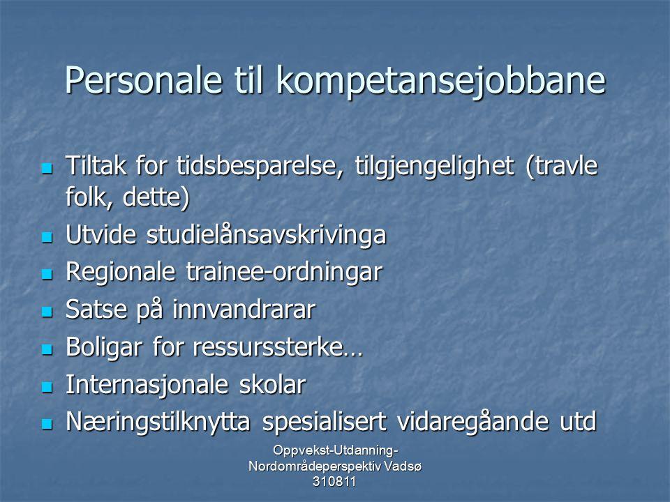 Oppvekst-Utdanning- Nordområdeperspektiv Vadsø 310811 Personale til kompetansejobbane Tiltak for tidsbesparelse, tilgjengelighet (travle folk, dette) Tiltak for tidsbesparelse, tilgjengelighet (travle folk, dette) Utvide studielånsavskrivinga Utvide studielånsavskrivinga Regionale trainee-ordningar Regionale trainee-ordningar Satse på innvandrarar Satse på innvandrarar Boligar for ressurssterke… Boligar for ressurssterke… Internasjonale skolar Internasjonale skolar Næringstilknytta spesialisert vidaregåande utd Næringstilknytta spesialisert vidaregåande utd