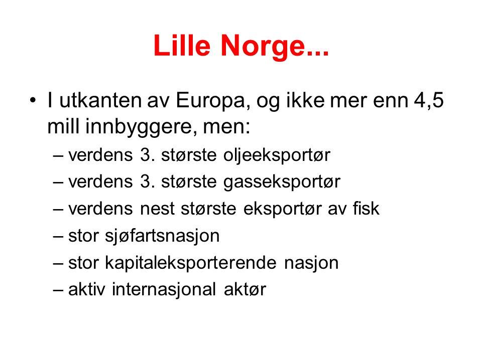 Lille Norge... I utkanten av Europa, og ikke mer enn 4,5 mill innbyggere, men: –verdens 3.