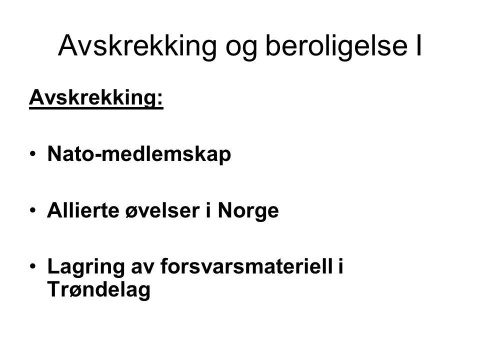 Avskrekking og beroligelse I Avskrekking: Nato-medlemskap Allierte øvelser i Norge Lagring av forsvarsmateriell i Trøndelag