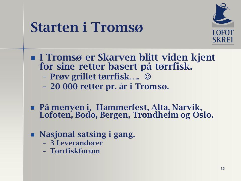 15 Starten i Tromsø I Tromsø er Skarven blitt viden kjent for sine retter basert på tørrfisk. – –Prøv grillet tørrfisk…. – –20 000 retter pr. år i Tro