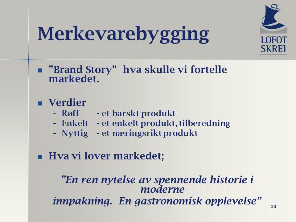 """20 Merkevarebygging """"Brand Story"""" hva skulle vi fortelle markedet. Verdier – –Røff- et barskt produkt – –Enkelt- et enkelt produkt, tilberedning – –Ny"""