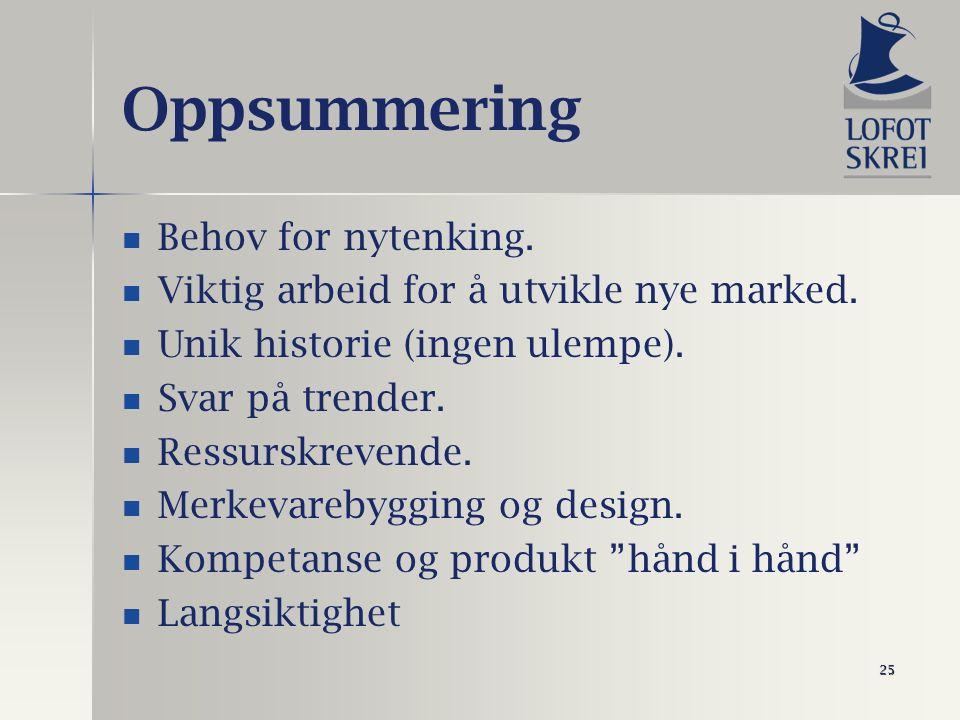 25 Oppsummering Behov for nytenking. Viktig arbeid for å utvikle nye marked.