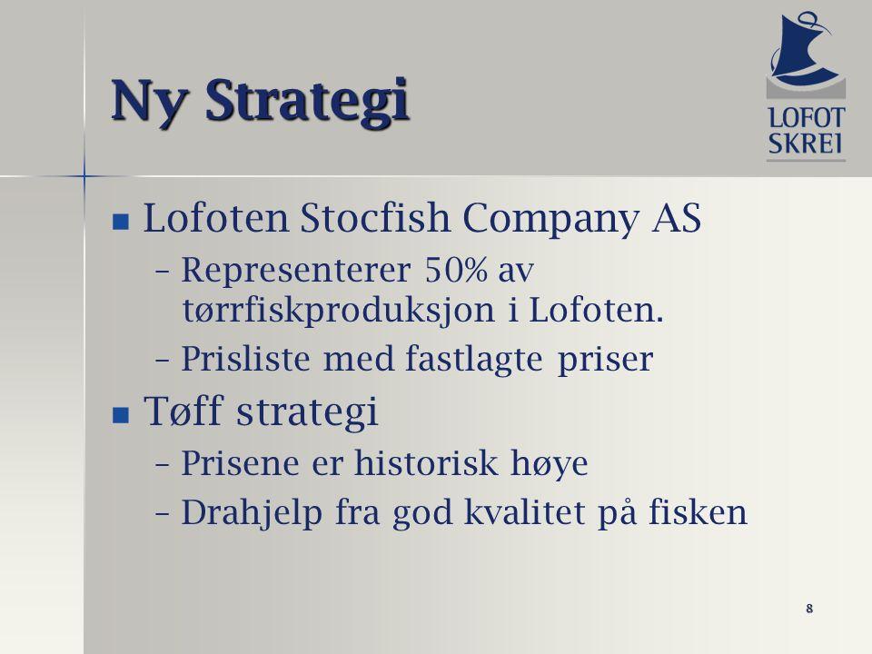 8 Ny Strategi Lofoten Stocfish Company AS – –Representerer 50% av tørrfiskproduksjon i Lofoten. – –Prisliste med fastlagte priser Tøff strategi – –Pri