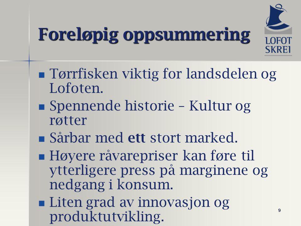 9 Foreløpig oppsummering Tørrfisken viktig for landsdelen og Lofoten. Spennende historie – Kultur og røtter Sårbar med ett stort marked. Høyere råvare