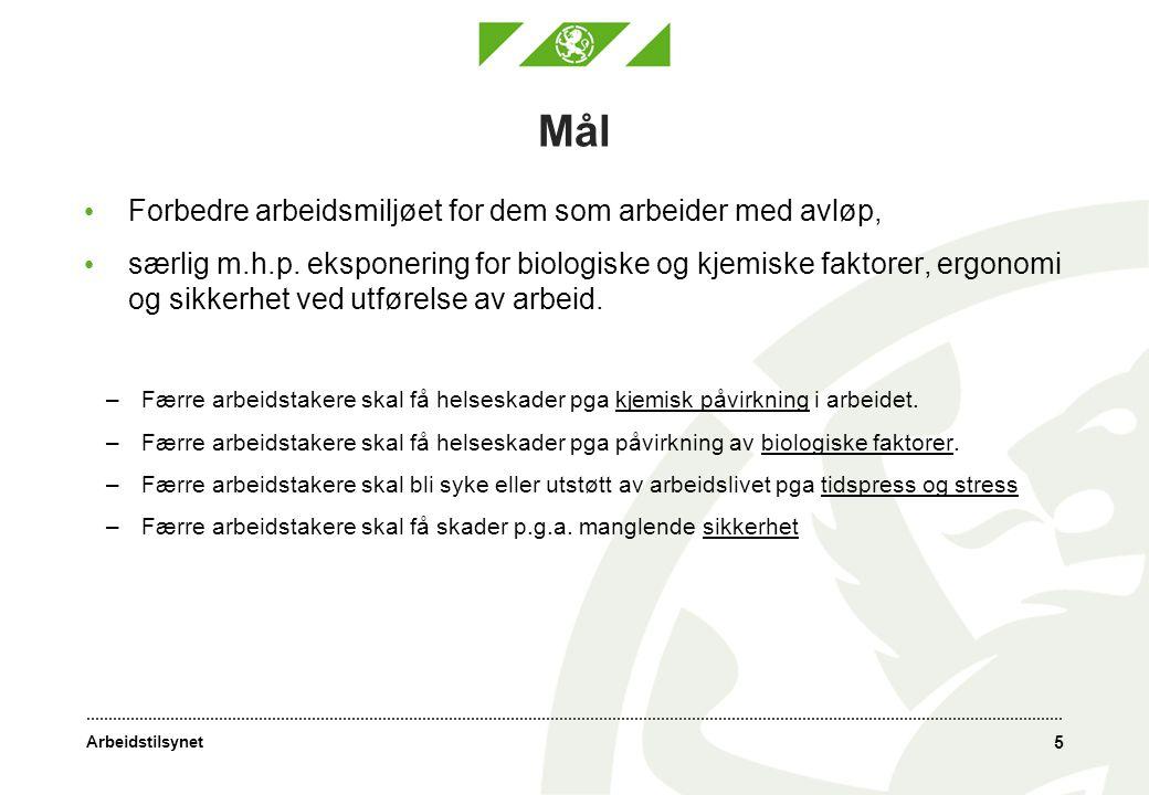 Arbeidstilsynet 16 Tre hovedaktører: Operatører/eiere av avløpsanlegg inkl.