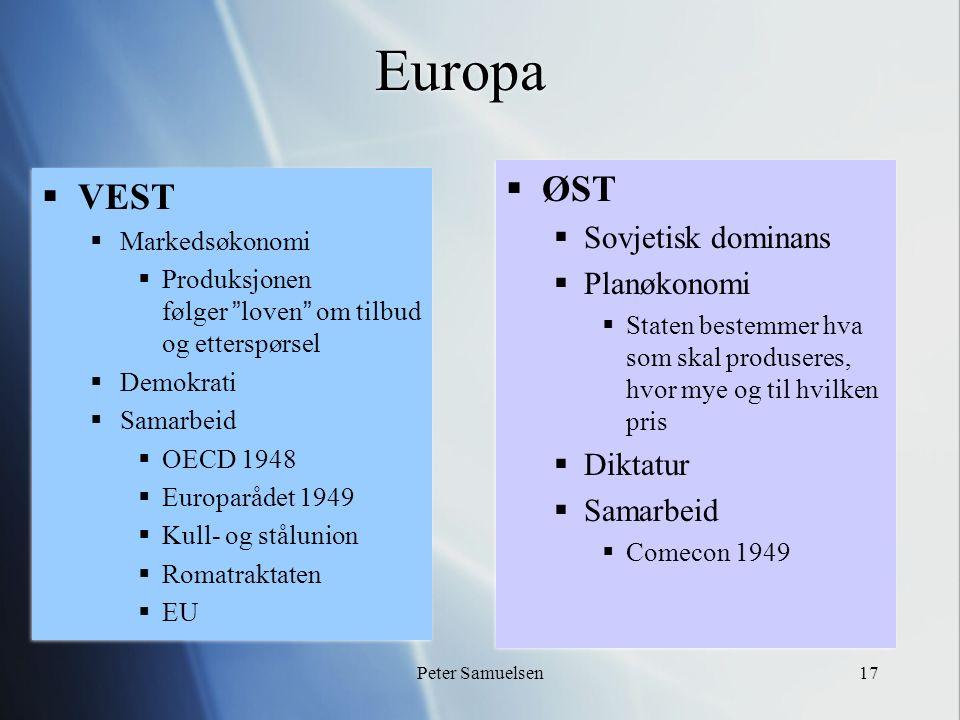 """Peter Samuelsen17 Europa  VEST  Markedsøkonomi  Produksjonen følger """"loven"""" om tilbud og etterspørsel  Demokrati  Samarbeid  OECD 1948  Europar"""