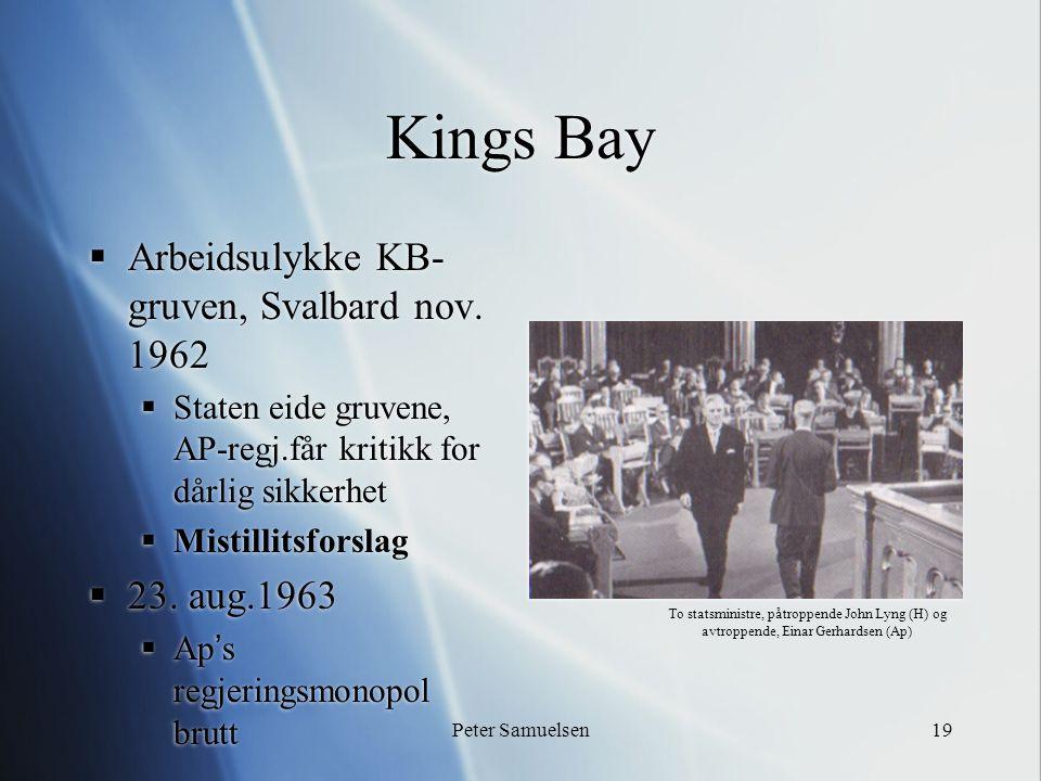 Peter Samuelsen19 Kings Bay  Arbeidsulykke KB- gruven, Svalbard nov. 1962  Staten eide gruvene, AP-regj.får kritikk for dårlig sikkerhet  Mistillit