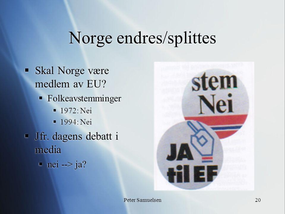 Peter Samuelsen20 Norge endres/splittes  Skal Norge være medlem av EU?  Folkeavstemminger  1972: Nei  1994: Nei  Jfr. dagens debatt i media  nei