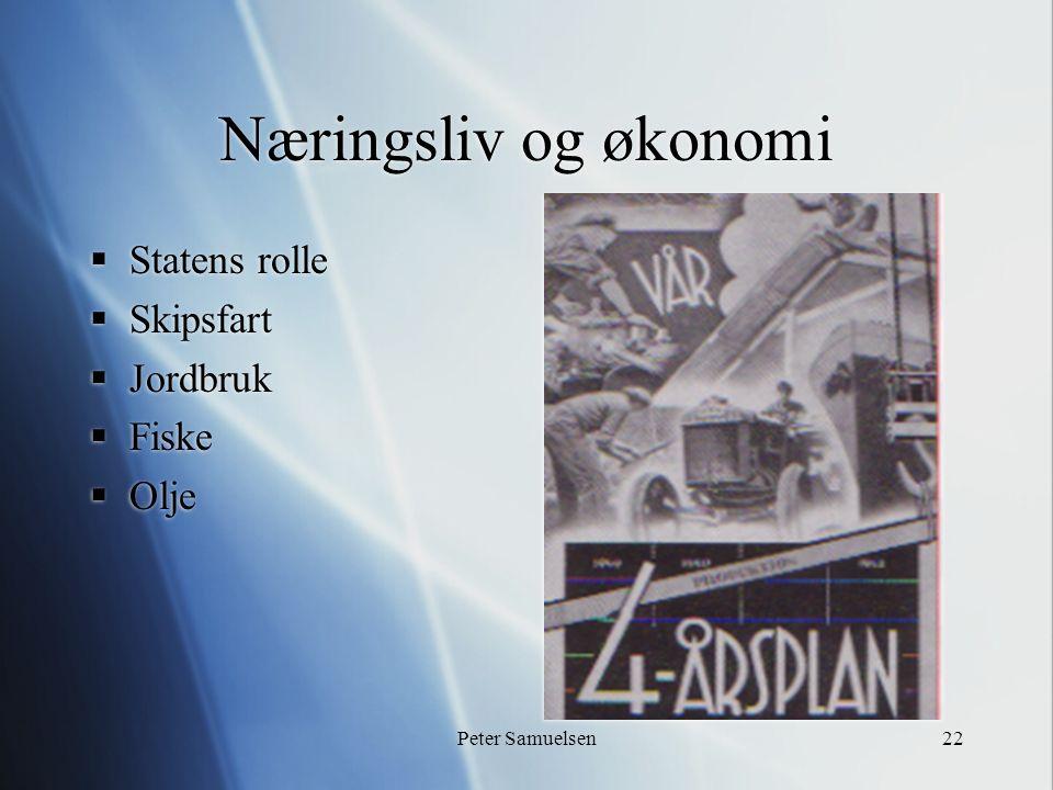Peter Samuelsen22 Næringsliv og økonomi  Statens rolle  Skipsfart  Jordbruk  Fiske  Olje  Statens rolle  Skipsfart  Jordbruk  Fiske  Olje