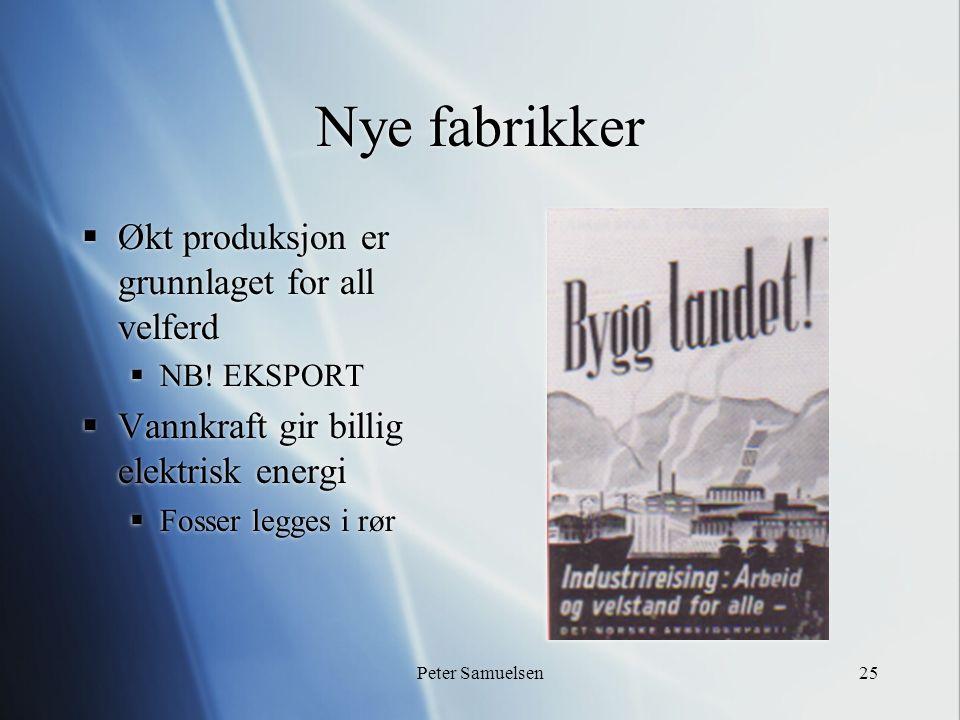 Peter Samuelsen25 Nye fabrikker  Økt produksjon er grunnlaget for all velferd  NB.