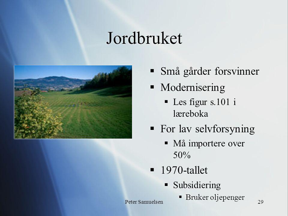 Peter Samuelsen29 Jordbruket  Små gårder forsvinner  Modernisering  Les figur s.101 i læreboka  For lav selvforsyning  Må importere over 50%  1970-tallet  Subsidiering  Bruker oljepenger