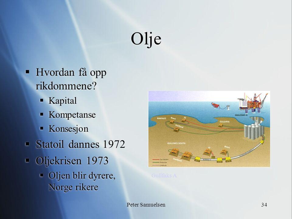 Peter Samuelsen34 Olje  Hvordan få opp rikdommene?  Kapital  Kompetanse  Konsesjon  Statoil dannes 1972  Oljekrisen 1973  Oljen blir dyrere, No