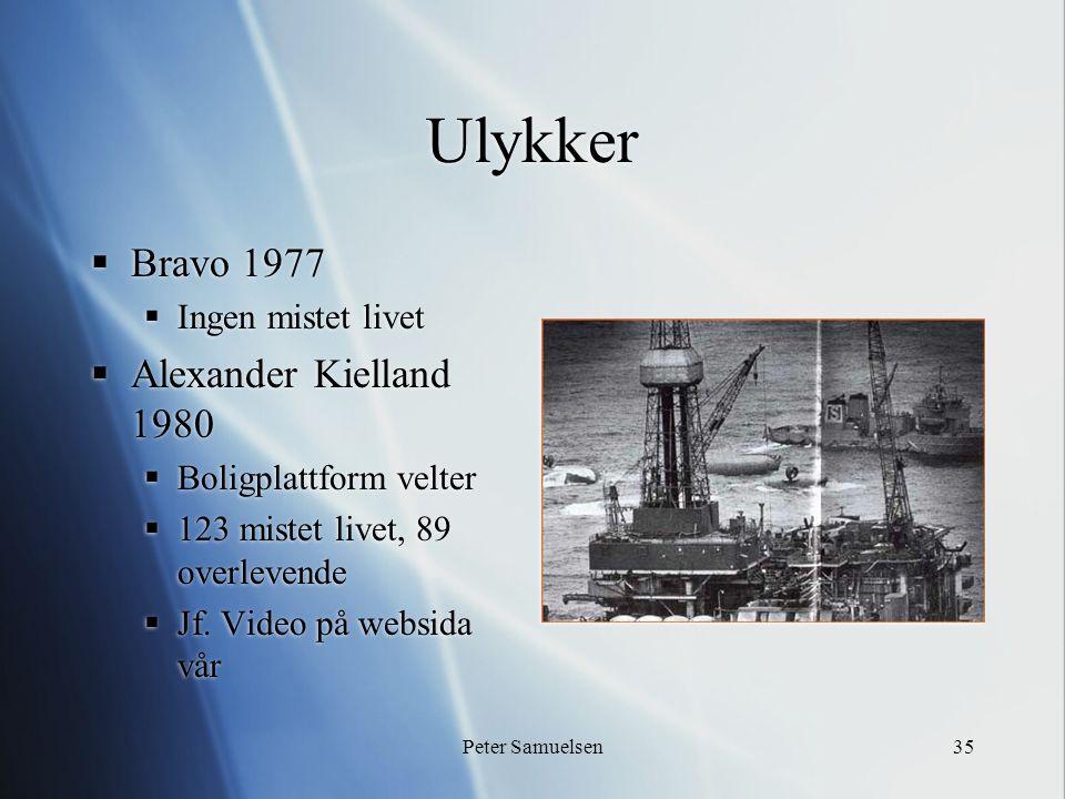 Peter Samuelsen35 Ulykker  Bravo 1977  Ingen mistet livet  Alexander Kielland 1980  Boligplattform velter  123 mistet livet, 89 overlevende  Jf.