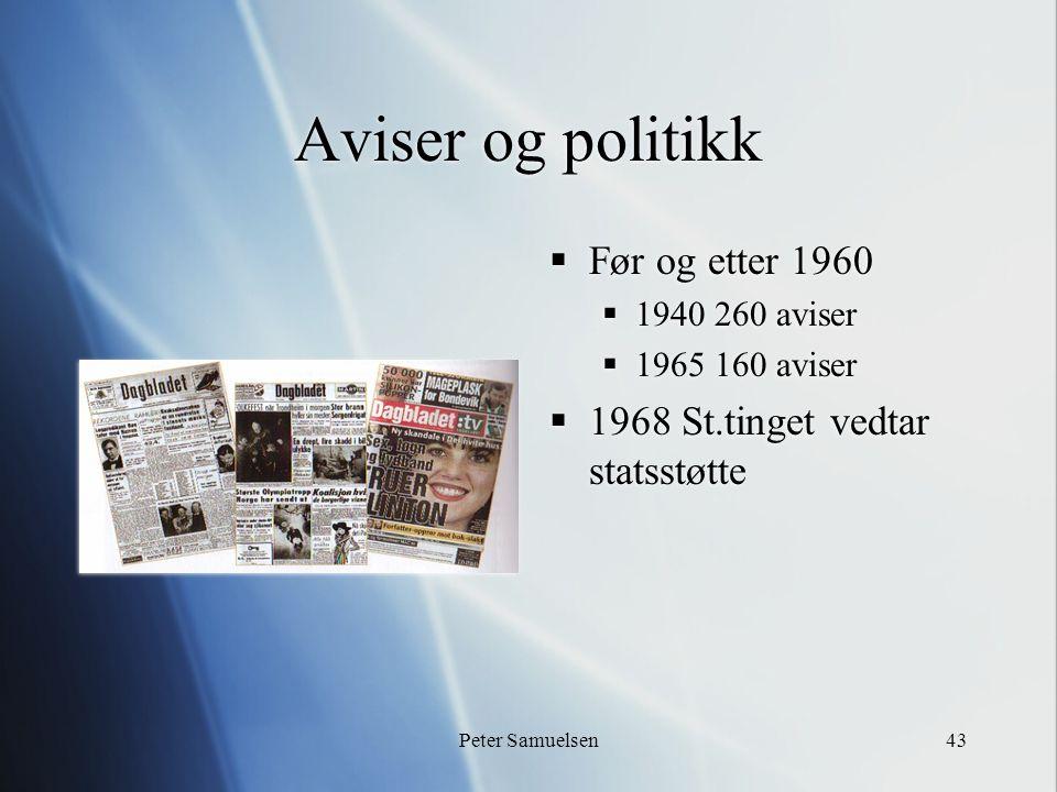 Peter Samuelsen43 Aviser og politikk  Før og etter 1960  1940 260 aviser  1965 160 aviser  1968 St.tinget vedtar statsstøtte