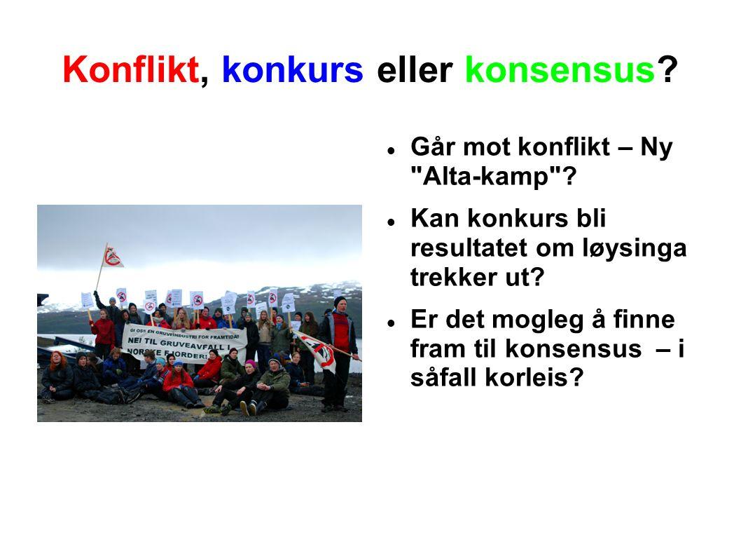 Konflikt, konkurs eller konsensus. Går mot konflikt – Ny Alta-kamp .