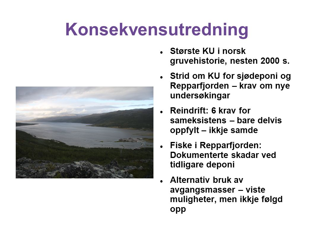 Konsekvensutredning Største KU i norsk gruvehistorie, nesten 2000 s.