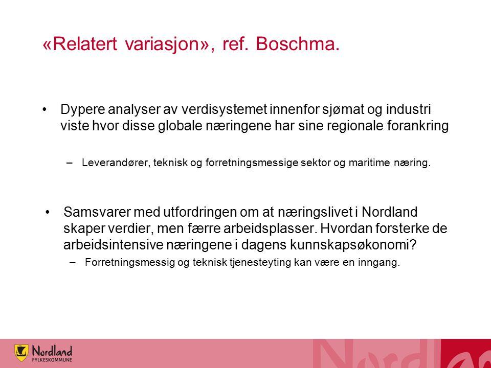 «Relatert variasjon», ref. Boschma. Dypere analyser av verdisystemet innenfor sjømat og industri viste hvor disse globale næringene har sine regionale