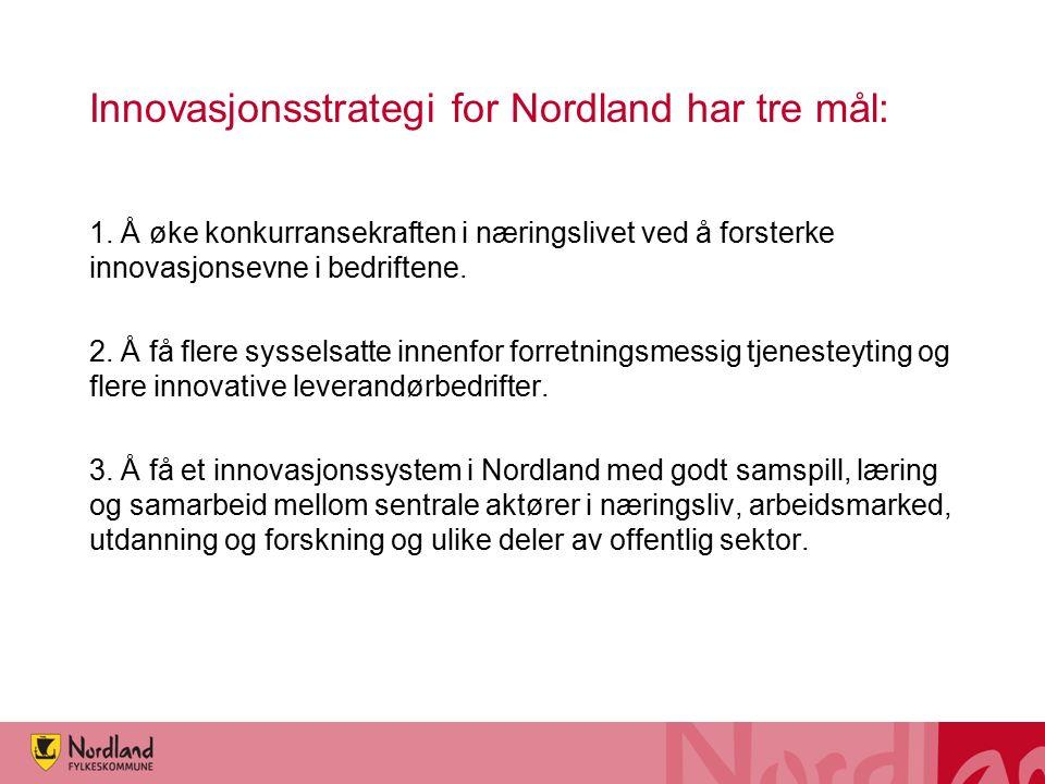 Innovasjonsstrategi for Nordland har tre mål: 1. Å øke konkurransekraften i næringslivet ved å forsterke innovasjonsevne i bedriftene. 2. Å få flere s