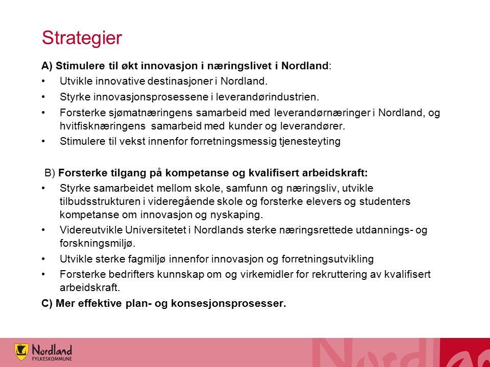 Strategier A) Stimulere til økt innovasjon i næringslivet i Nordland: Utvikle innovative destinasjoner i Nordland. Styrke innovasjonsprosessene i leve