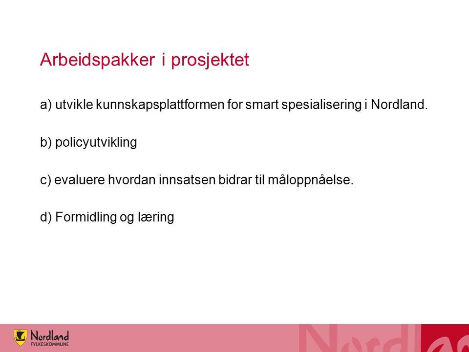 Arbeidspakker i prosjektet a) utvikle kunnskapsplattformen for smart spesialisering i Nordland. b) policyutvikling c) evaluere hvordan innsatsen bidra