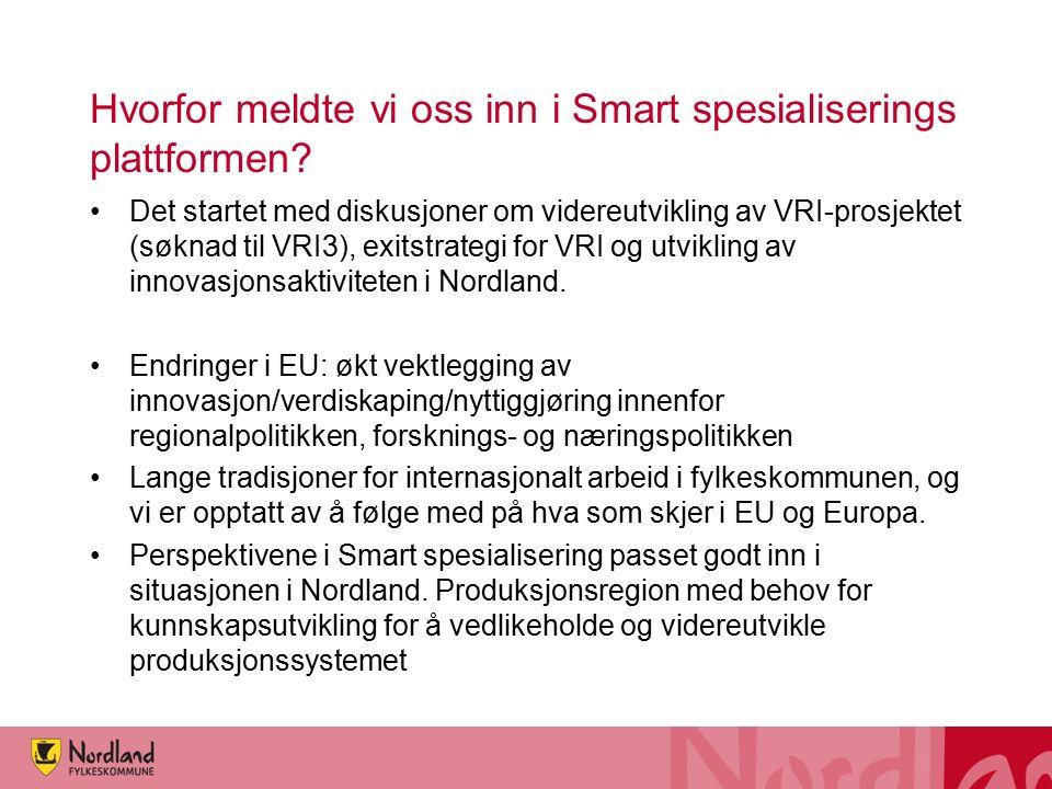 Hvorfor meldte vi oss inn i Smart spesialiserings plattformen? Det startet med diskusjoner om videreutvikling av VRI-prosjektet (søknad til VRI3), exi