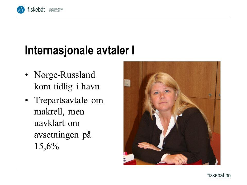 Internasjonale avtaler I Norge-Russland kom tidlig i havn Trepartsavtale om makrell, men uavklart om avsetningen på 15,6%