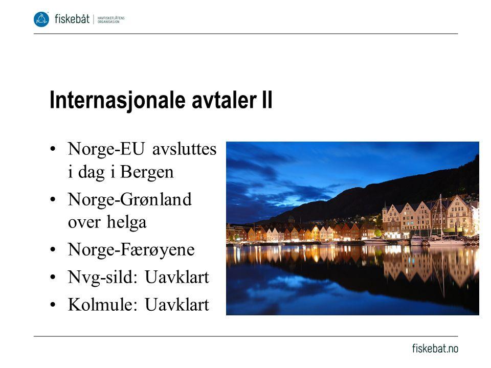 Internasjonale avtaler II Norge-EU avsluttes i dag i Bergen Norge-Grønland over helga Norge-Færøyene Nvg-sild: Uavklart Kolmule: Uavklart