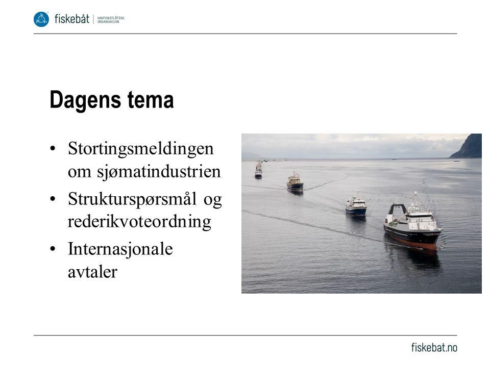Dagens tema Stortingsmeldingen om sjømatindustrien Strukturspørsmål og rederikvoteordning Internasjonale avtaler