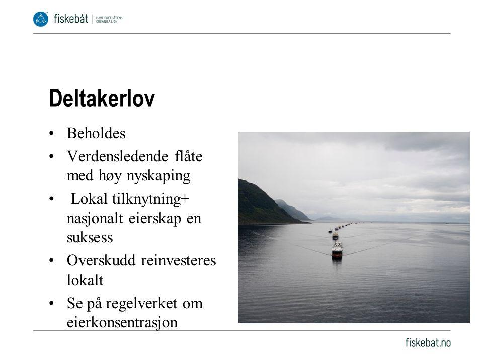 Avkorting generelt Avkorting ved bruk av strukturordningen –Ringnot (prosentvis avkorting med geografisk differensiering) –Pelagisk trål (liten avkorting) –Torsketrål (avkorting gjennom bortfall av fiskerier) –Konvensjonelle hav (avkorting gjennom bortfall av fiskerier + nord/sør) Lite aktuelt å endre avkortingen i torsketrål eller for konvensjonell havfiskeflåte, selv om det er en diskusjon om å ta nye fiskeslag inn i ordningen (snabeluer, blåkveite, sei i Nordsjøen) Pelagisk trål har med unntak av sei ingen avkorting