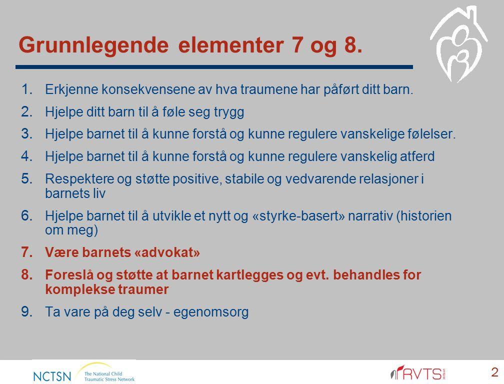 Grunnlegende elementer 7 og 8. 2 1. Erkjenne konsekvensene av hva traumene har påført ditt barn. 2. Hjelpe ditt barn til å føle seg trygg 3. Hjelpe ba