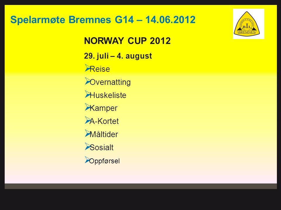 Spelarmøte Bremnes G14 – 14.06.2012 NORWAY CUP 2012 29. juli – 4. august  Reise  Overnatting  Huskeliste  Kamper  A-Kortet  Måltider  Sosialt 