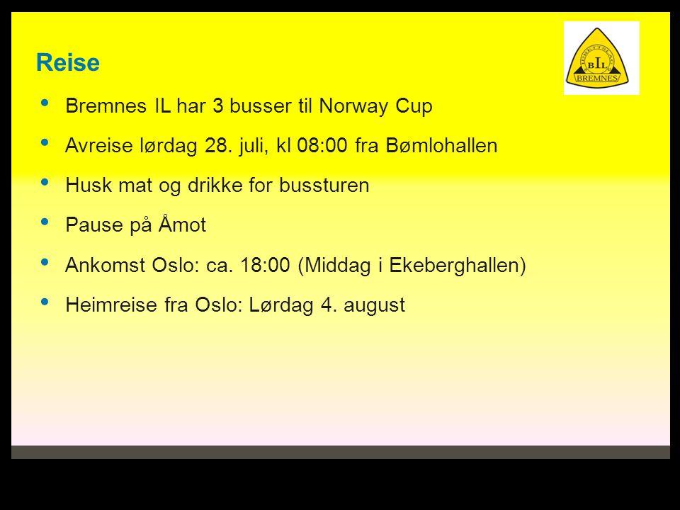Reise Bremnes IL har 3 busser til Norway Cup Avreise lørdag 28. juli, kl 08:00 fra Bømlohallen Husk mat og drikke for bussturen Pause på Åmot Ankomst