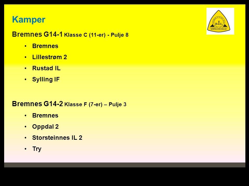 Kamper Bremnes G14-1 Klasse C (11-er) - Pulje 8 Bremnes Lillestrøm 2 Rustad IL Sylling IF Bremnes G14-2 Klasse F (7-er) – Pulje 3 Bremnes Oppdal 2 Storsteinnes IL 2 Try