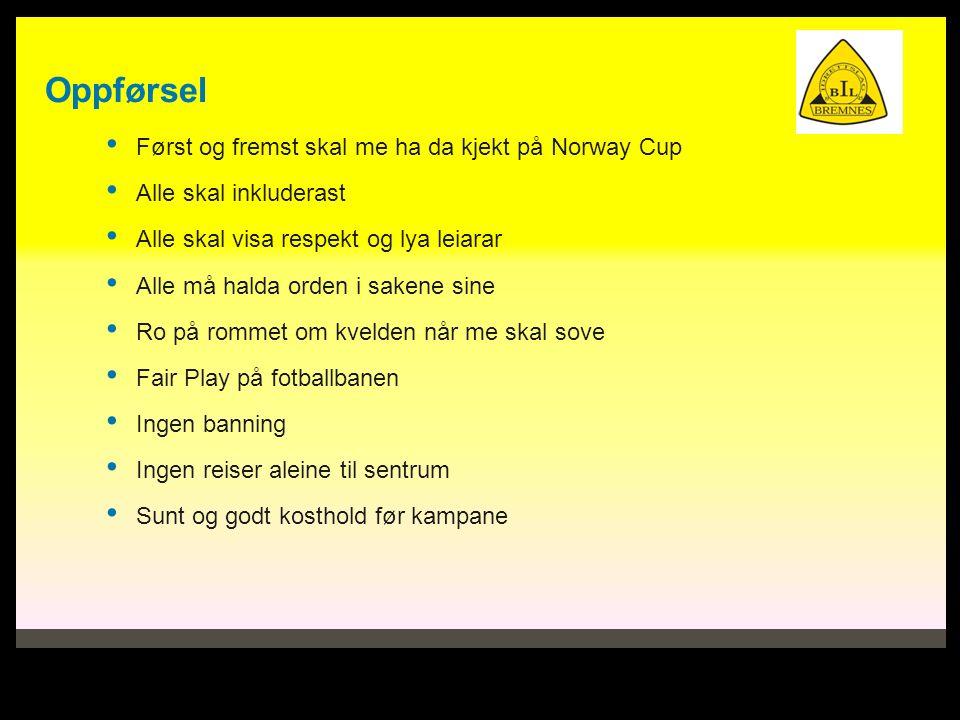 Oppførsel Først og fremst skal me ha da kjekt på Norway Cup Alle skal inkluderast Alle skal visa respekt og lya leiarar Alle må halda orden i sakene s