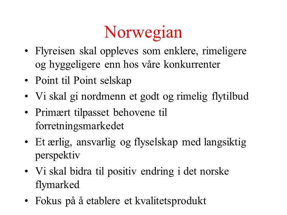 Norwegian Flyreisen skal oppleves som enklere, rimeligere og hyggeligere enn hos våre konkurrenter Point til Point selskap Vi skal gi nordmenn et godt og rimelig flytilbud Primært tilpasset behovene til forretningsmarkedet Et ærlig, ansvarlig og flyselskap med langsiktig perspektiv Vi skal bidra til positiv endring i det norske flymarked Fokus på å etablere et kvalitetsprodukt