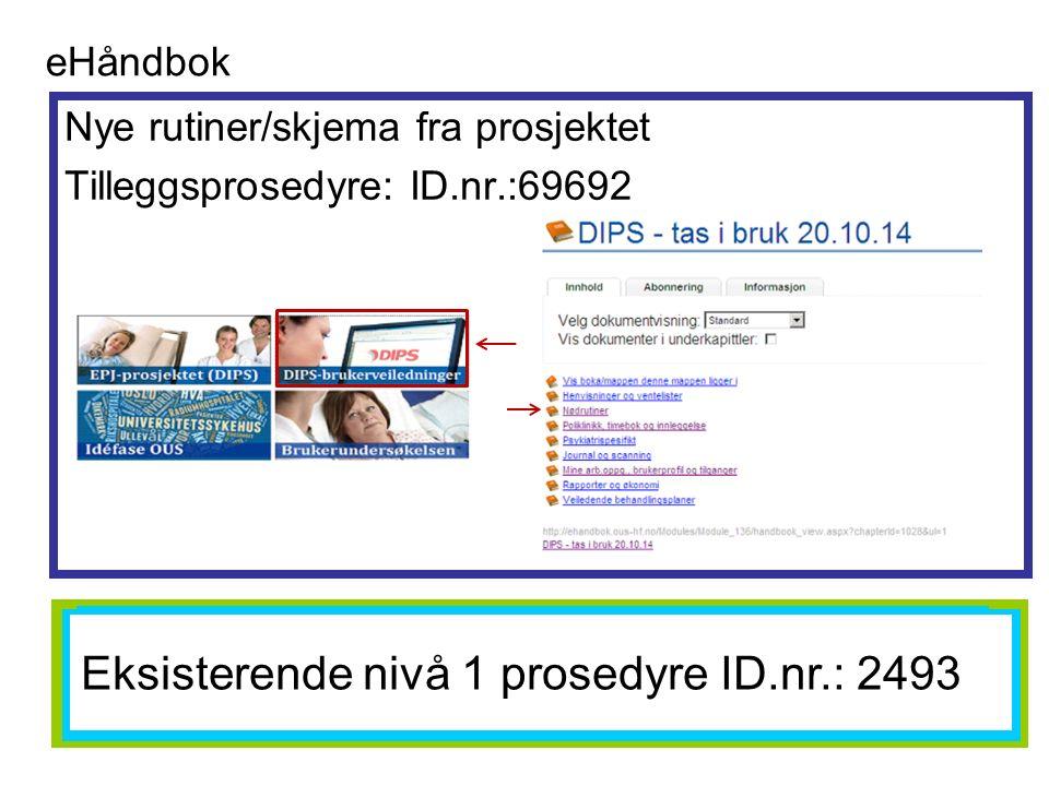 Nye rutiner/skjema fra prosjektet Tilleggsprosedyre: ID.nr.:69692 eHåndbok EKSISTERENDE NIVÅ 1 PROSEDYRE ID: 2493 Eksisterende nivå 1 prosedyre ID.nr.: 2493