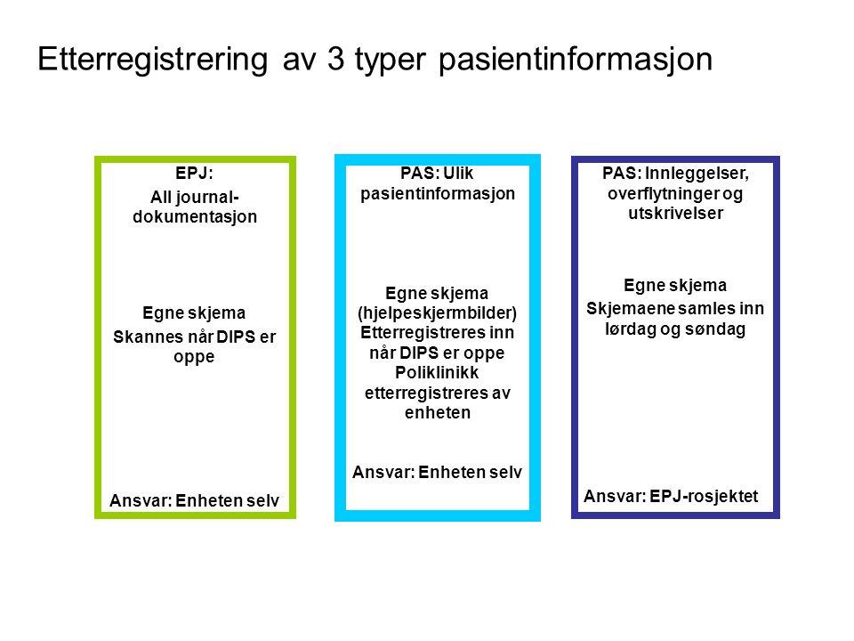 Etterregistrering av 3 typer pasientinformasjon EPJ: All journal- dokumentasjon Egne skjema Skannes når DIPS er oppe Ansvar: Enheten selv PAS: Innleggelser, overflytninger og utskrivelser Egne skjema Skjemaene samles inn lørdag og søndag Ansvar: EPJ-rosjektet PAS: Ulik pasientinformasjon Egne skjema (hjelpeskjermbilder) Etterregistreres inn når DIPS er oppe Poliklinikk etterregistreres av enheten Ansvar: Enheten selv