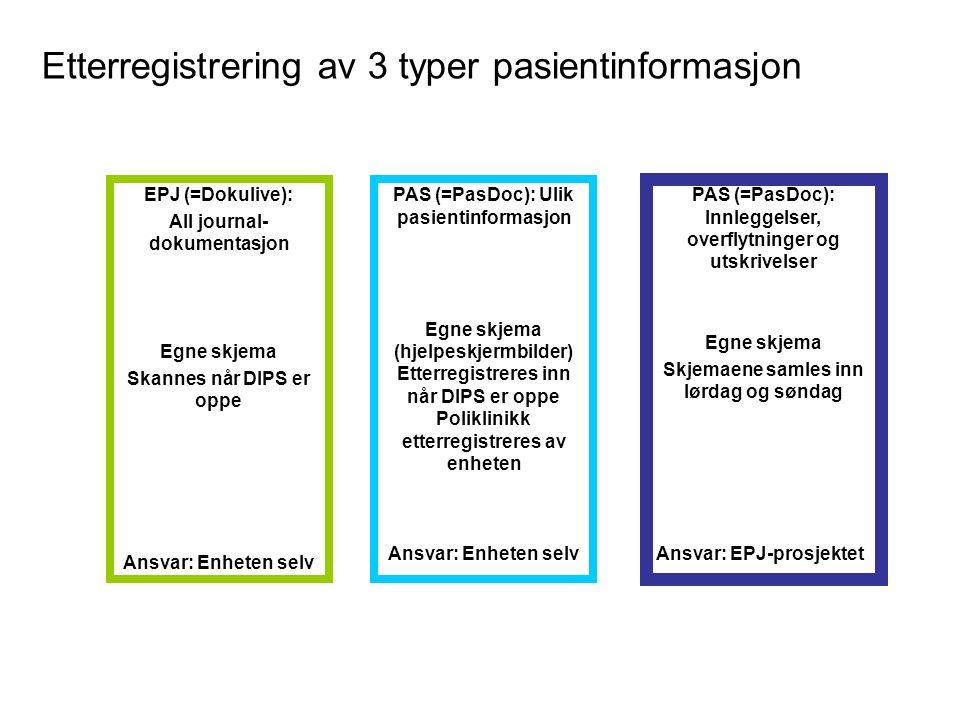 Etterregistrering av 3 typer pasientinformasjon EPJ (=Dokulive): All journal- dokumentasjon Egne skjema Skannes når DIPS er oppe Ansvar: Enheten selv PAS (=PasDoc): Innleggelser, overflytninger og utskrivelser Egne skjema Skjemaene samles inn lørdag og søndag Ansvar: EPJ-prosjektet PAS (=PasDoc): Ulik pasientinformasjon Egne skjema (hjelpeskjermbilder) Etterregistreres inn når DIPS er oppe Poliklinikk etterregistreres av enheten Ansvar: Enheten selv