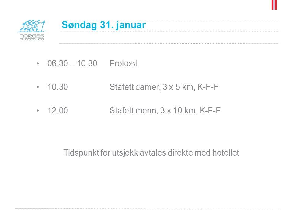 06.30 – 10.30Frokost 10.30Stafett damer, 3 x 5 km, K-F-F 12.00Stafett menn, 3 x 10 km, K-F-F Tidspunkt for utsjekk avtales direkte med hotellet Søndag 31.