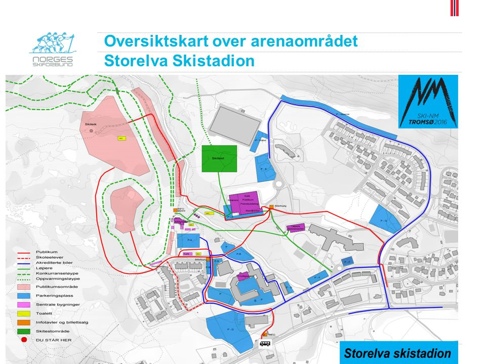 Oversiktskart over arenaområdet Storelva Skistadion