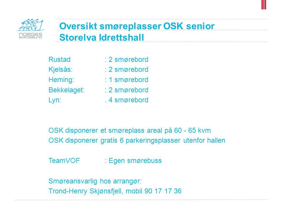 Oversikt smøreplasser OSK senior Storelva Idrettshall Rustad: 2 smørebord Kjelsås:: 2 smørebord Heming:: 1 smørebord Bekkelaget:: 2 smørebord Lyn:.