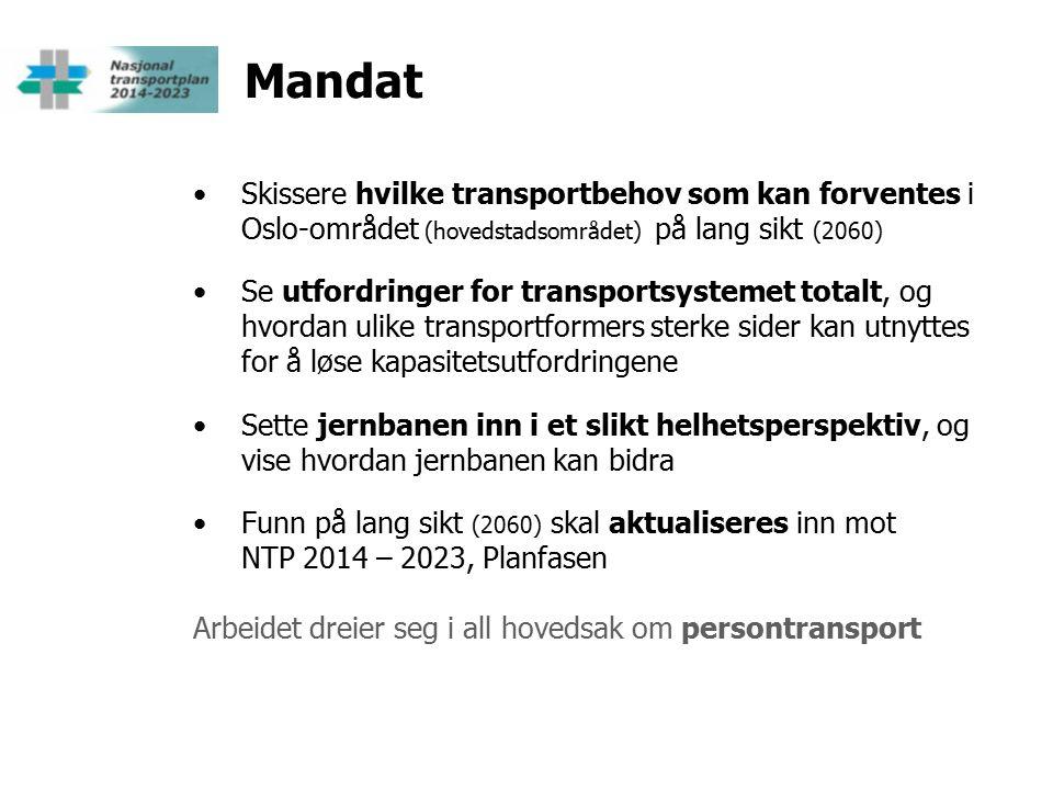 Mandat Skissere hvilke transportbehov som kan forventes i Oslo-området (hovedstadsområdet) på lang sikt (2060) Se utfordringer for transportsystemet totalt, og hvordan ulike transportformers sterke sider kan utnyttes for å løse kapasitetsutfordringene Sette jernbanen inn i et slikt helhetsperspektiv, og vise hvordan jernbanen kan bidra Funn på lang sikt (2060) skal aktualiseres inn mot NTP 2014 – 2023, Planfasen Arbeidet dreier seg i all hovedsak om persontransport