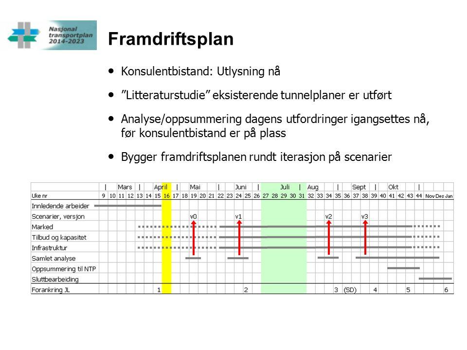 Framdriftsplan Konsulentbistand: Utlysning nå Litteraturstudie eksisterende tunnelplaner er utført Analyse/oppsummering dagens utfordringer igangsettes nå, før konsulentbistand er på plass Bygger framdriftsplanen rundt iterasjon på scenarier