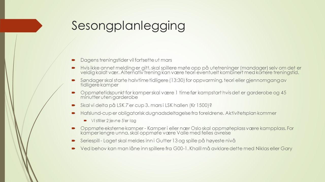 Sesongplanlegging  Turneringer:  16.-17.3 - Hafslund Cup (en av dagene)  28.7-3.8 - Norway Cup 11 er (13 år) - Dato for oppkjøring til NC vil være 24.-26.7.