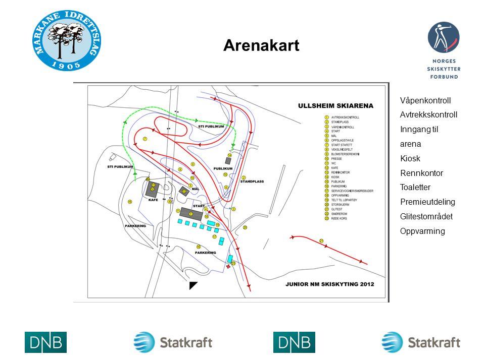 Arenakart Våpenkontroll Avtrekkskontroll Inngang til arena Kiosk Rennkontor Toaletter Premieutdeling Glitestområdet Oppvarming