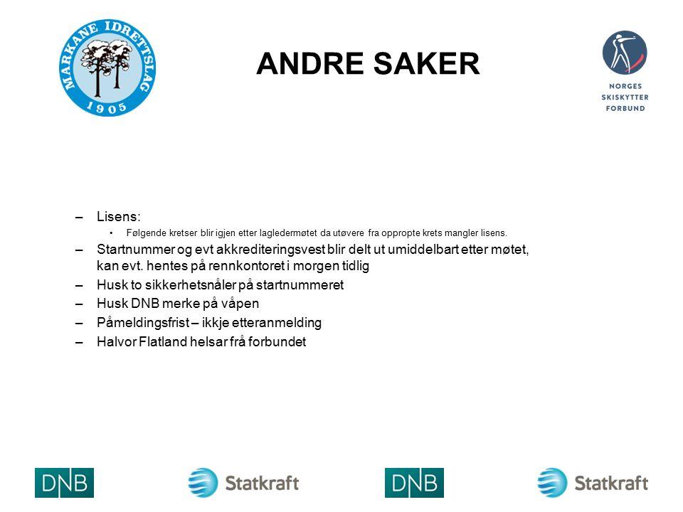 ANDRE SAKER –Lisens: Følgende kretser blir igjen etter lagledermøtet da utøvere fra oppropte krets mangler lisens.